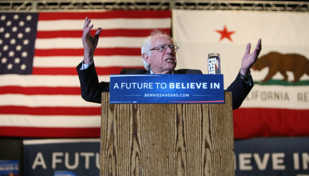In this file photo from May 9, 2016, Vermont Sen. Bernie Sanders campaigned in Sacramento, Calif., ahead of the state's June primary. Andrew Nixon / Capital Public Radio