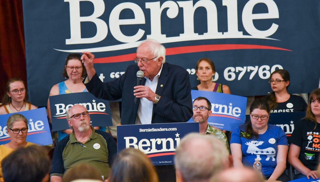 Sen. Bernie Sanders speaks at the Littleton Opera House in Littleton, N.H., on Tuesday, Aug. 13, 2019. Photo by Kit Norton/VTDigger