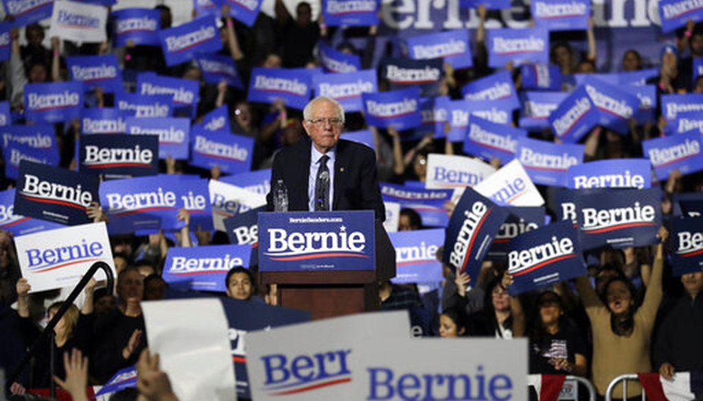 Sen. Bernie Sanders, I-Vt., looks around at his 2020 presidential campaign stop at Navy Pier in Chicago, Sunday, March 3, 2019. (AP)