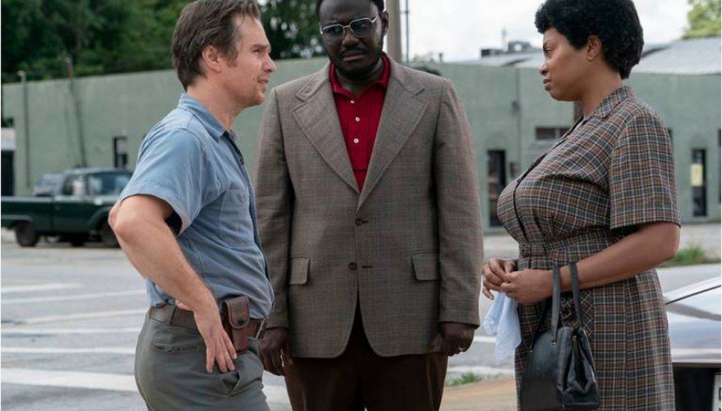"Sam Rockwell, left, as C.P. Ellis; Babou Ceesay as Bill Riddick and Taraji P. Henson as Ann Atwater star in ""The Best of Enemies,"" which is based on a true story of race relations in Durham, N.C. in the early 1970s. ANNETTE BROWN  COURTESY OF STXFILMS"