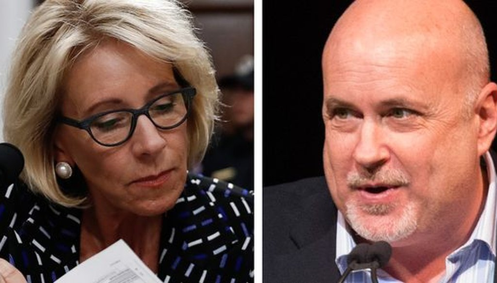 U.S. Education Secretary Betsy DeVos and U.S. Rep. Mark Pocan, D-Wis., clashed over school vouchers during a House subcommittee hearing on May 24, 2017.