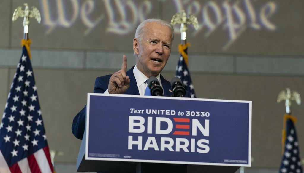 Democratic presidential candidate Joe Biden speaks at the Constitution Center in Philadelphia on Sept. 20, 2020. (AP)