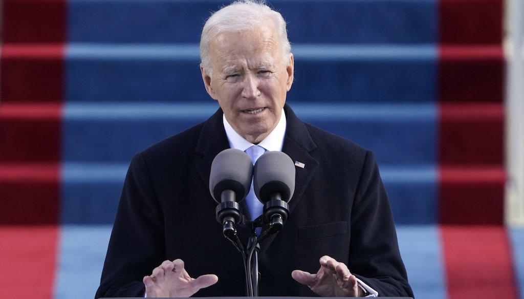 President Joe Biden speaks during the 59th Presidential Inauguration at the U.S. Capitol in Washington, Jan. 20, 2021. (AP)