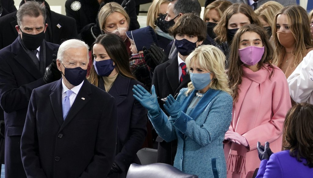 President-elect Joe Biden arrives, with his wife Jill Biden, and members of his family to be sworn in as 46th president of the United States during the 59th Presidential Inauguration at the U.S. Capitol in Washington, Wednesday, Jan. 20, 2021. (AP)