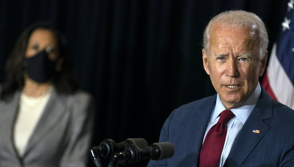 Democratic presidential candidate former Vice President Joe Biden joined by his running mate Sen. Kamala Harris, D-Calif., speaks at the Hotel DuPont in Wilmington, Del., Thursday, Aug. 13, 2020. (AP)
