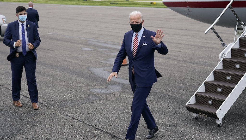 Democratic presidential candidate and former Vice President Joe Biden steps off a plane Tuesday, Sept. 15, 2020 at Tampa International Airport in Tampa, Fla., on a visit for campaign events. (AP)