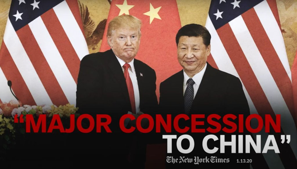 This is part of an ad from Joe Biden's presidential campaign that attacks President Donald Trump's trade policy with China. (Screenshot)