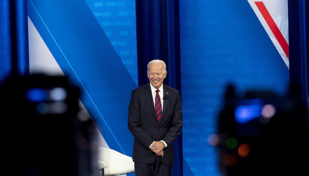 President Joe Biden appears at a CNN town hall at Mount St. Joseph University in Cincinnati. (AP Photo/Andrew Harnik)