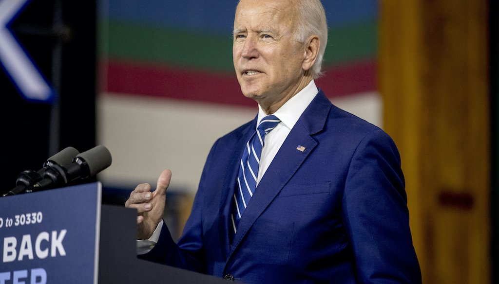 Democratic presidential candidate Joe Biden talks about his economic program at a campaign even in Delaware. (AP Photo/Andrew Harnik)