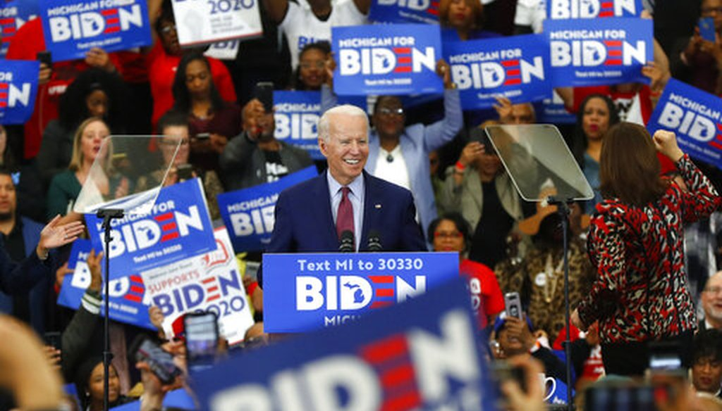 Democratic presidential candidate former Vice President Joe Biden speaks during a campaign rally at Renaissance High School in Detroit, Monday, March 9, 2020. (AP)