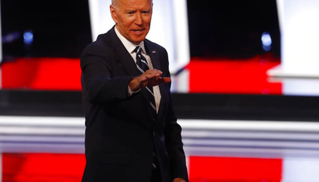 Former Vice President Joe Biden waves after the second of two Democratic presidential primary debates hosted by CNN Wednesday, July 31, 2019, in the Fox Theatre in Detroit. (AP)