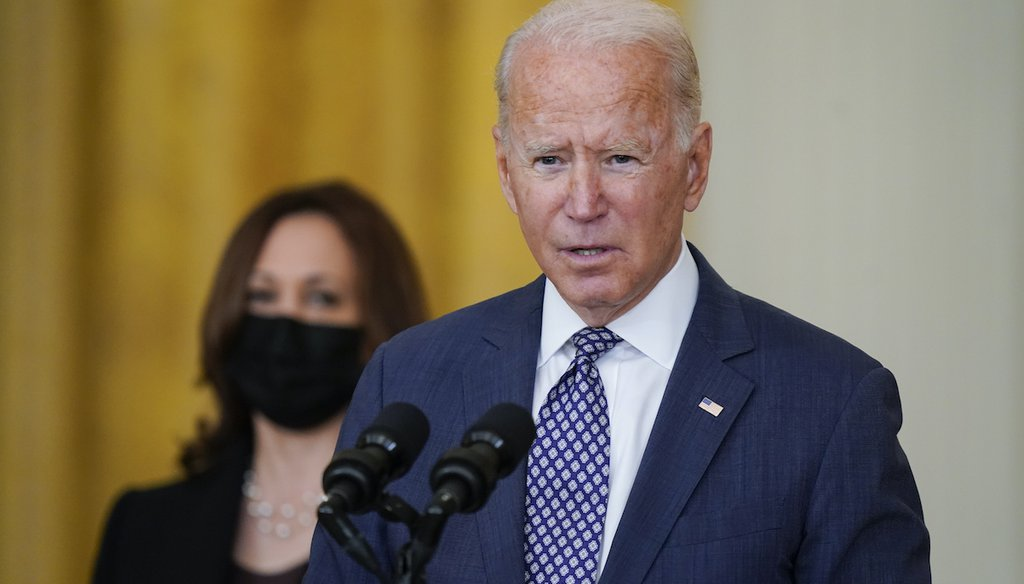 President Joe Biden speaks Aug. 20, 2021, at the White House about the evacuation of American citizens from Afghanistan. Vice President Kamala Harris looks on. (AP)