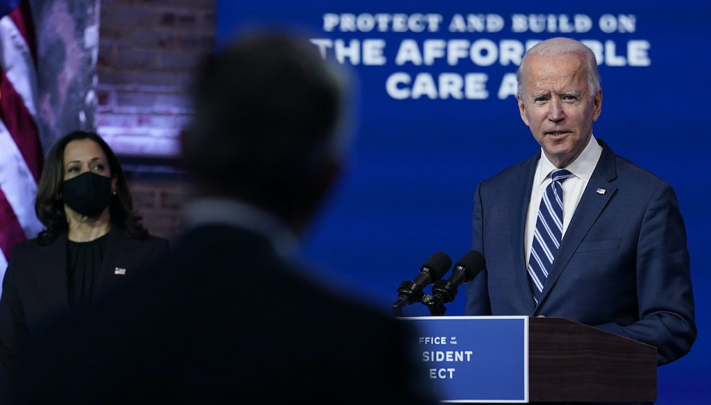 President-elect Joe Biden, joined by Vice President-elect Kamala Harris, answers a reporter's question at The Queen theater, Tuesday, Nov. 10, 2020, in Wilmington, Del. (AP)