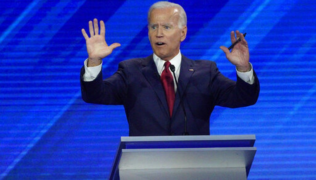 Democratic presidential candidate former Vice President Joe Biden answers a question Thursday, Sept. 12, 2019, during a Democratic presidential primary debate hosted by ABC at Texas Southern University in Houston. (AP)