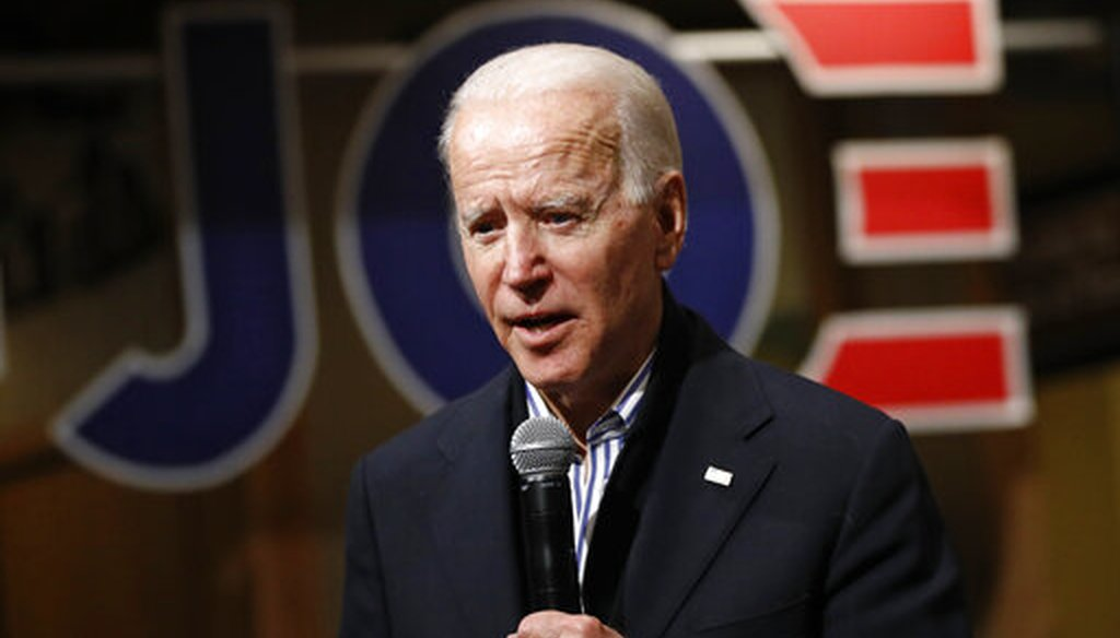 Democratic presidential candidate, former Vice President Joe Biden speaks during a campaign event, Friday, Jan. 3, 2020, in Independence, Iowa. (AP)