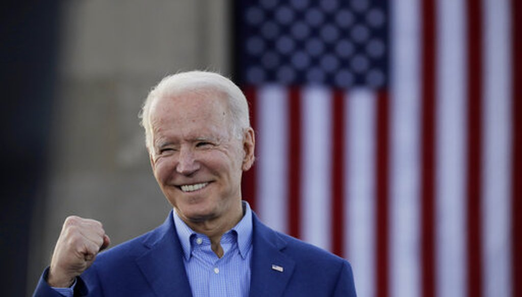 Democratic presidential candidate, former Vice President Joe Biden knowledges the crowd during a campaign rally Saturday, March 7, 2020, in Kansas City, Mo. (AP)