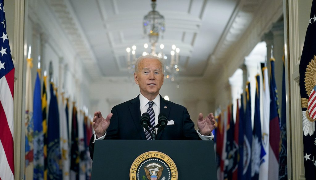 President Joe Biden speaks about the COVID-19 pandemic during a primetime address from the White House on March 11, 2021, in Washington. (AP/Harnik)