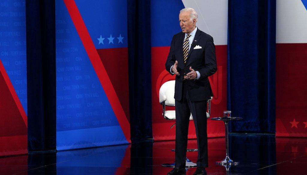 President Joe Biden talks during a CNN town hall event in Milwaukee. (AP Photo/Evan Vucci)