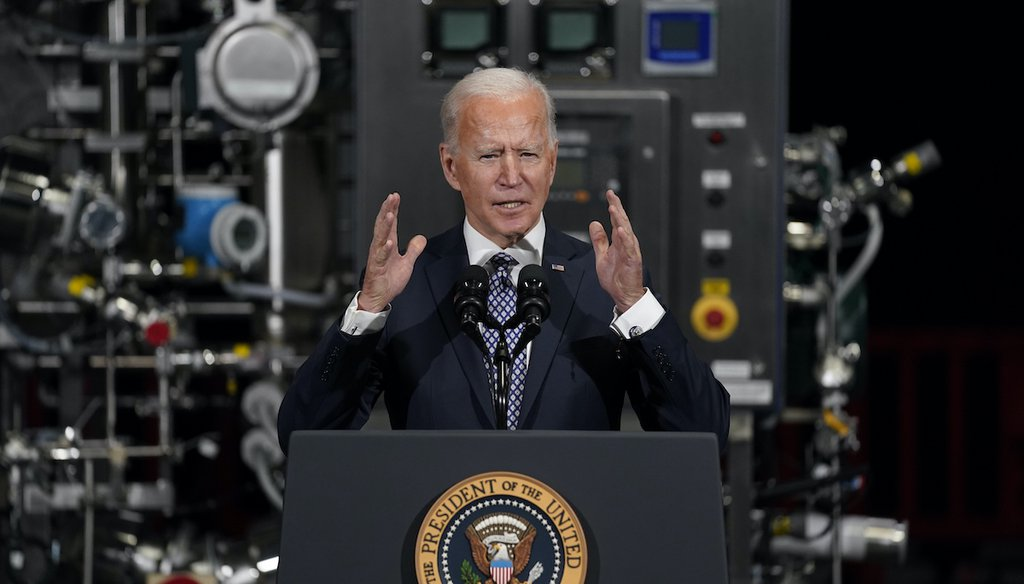 President Joe Biden speaks after a tour of a Pfizer manufacturing site, Friday, Feb. 19, 2021, in Portage, Mich. (AP)