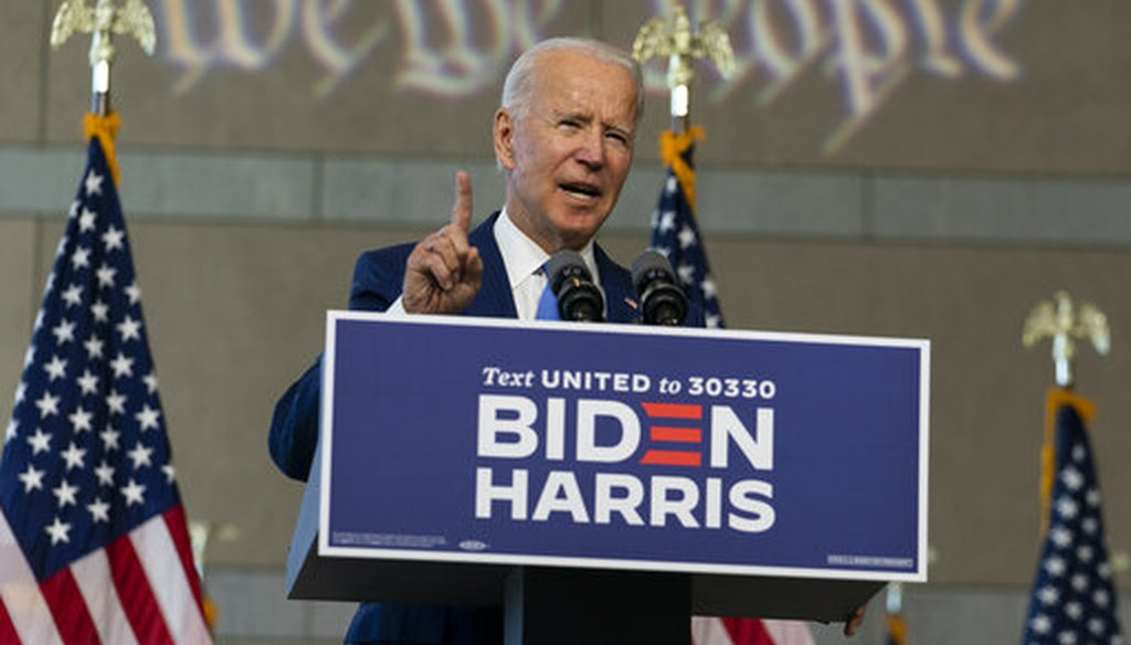Democratic presidential candidate and former Vice President Joe Biden speaks at the Constitution Center in Philadelphia, Sunday, Sept. 20, 2020, about the Supreme Court. (AP)