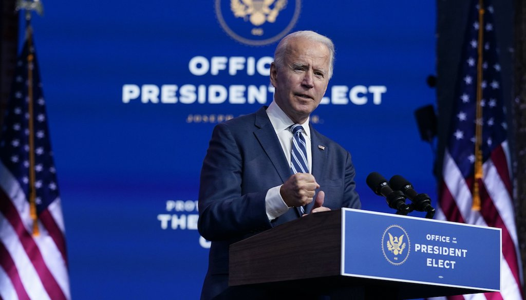 President-elect Joe Biden speaks at The Queen theater on Nov. 10, 2020, in Wilmington, Del. (AP)