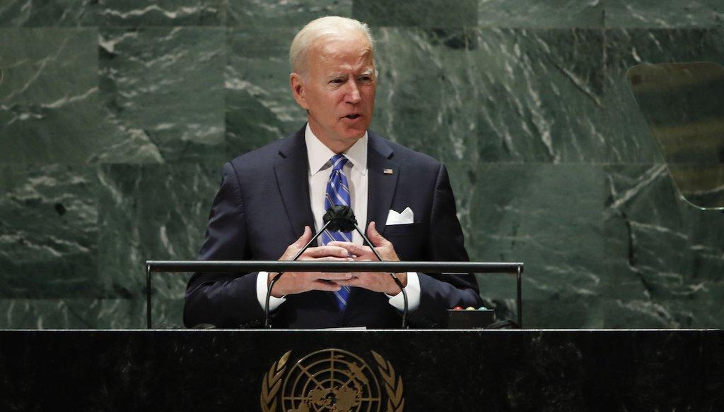 U.S. President Joe Biden speaks during the 76th Session of the United Nations General Assembly at U.N. headquarters in New York. (Eduardo Munoz/Pool Photo via AP)
