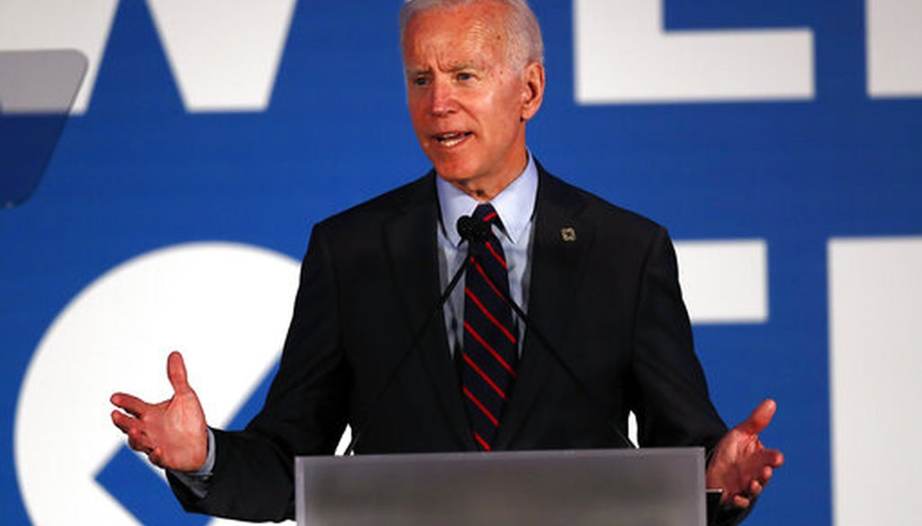 Joe Biden on November 3 campaigned in Virginia for Democratic legislative candidates. The above picture is from a campaign event this spring.  (AP Photo/John Bazemore)