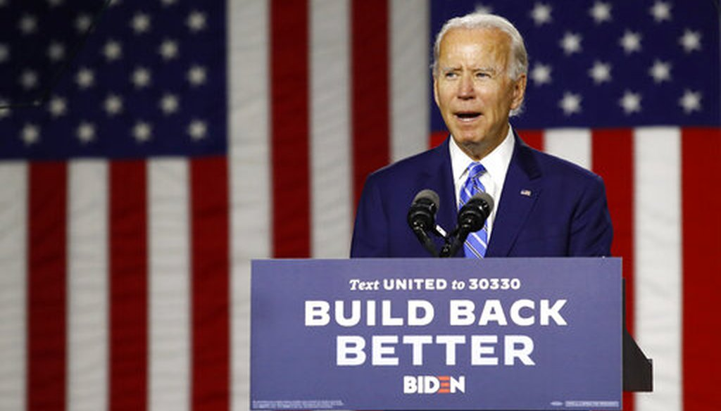 Democratic presidential candidate, former Vice President Joe Biden speaks during a campaign event, Tuesday, July 14, 2020, in Wilmington, Del. (AP Photo)