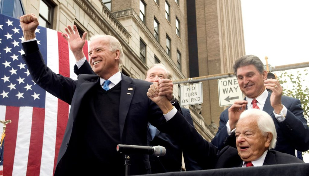 Then-Democratic vice presidential candidate Joe Biden accompanied by Sen. Robert Byrd, D-W.Va., in Charleston, W.Va., on Oct. 24, 2008. (AP)