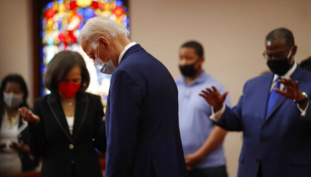 Democratic presidential candidate, former Vice President Joe Biden bows his head in prayer during a visit to Bethel AME Church in Wilmington, Del., Monday, June 1, 2020. (AP)