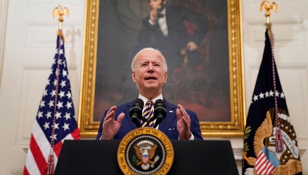President Joe Biden delivers remarks on the economy at the White House on Jan. 22, 2021. (AP)
