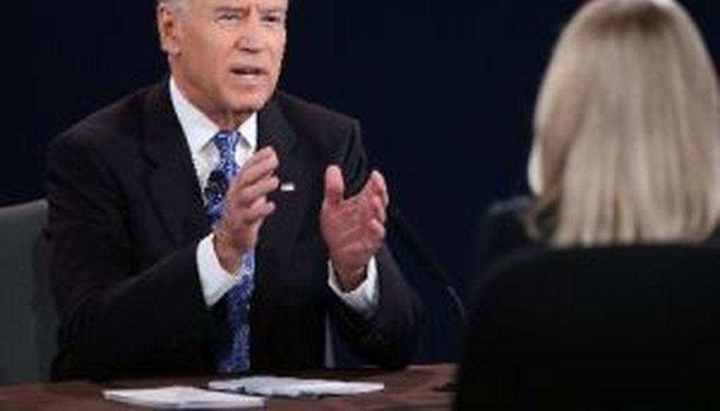Vice President Joe Biden makes his case to debate moderator Martha Raddatz of ABC News.
