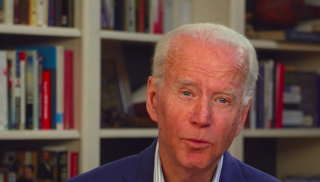 Democratic presidential candidate Joe Biden speaks to supporters from his home. (Screenshot)