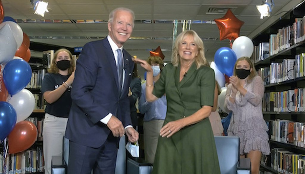 Democratic presidential candidate former Vice President Joe Biden, his wife Jill Biden, and members of the Biden family, celebrate after the roll call during the second night of the Democratic National Convention on Tuesday, Aug. 18, 2020. (DNC via AP)