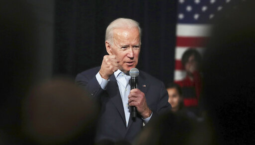 In this Monday, Dec. 30, 2019 file photo, Democratic presidential candidate former Vice President Joe Biden addresses a gathering during a campaign stop in Exeter, N.H. (AP)