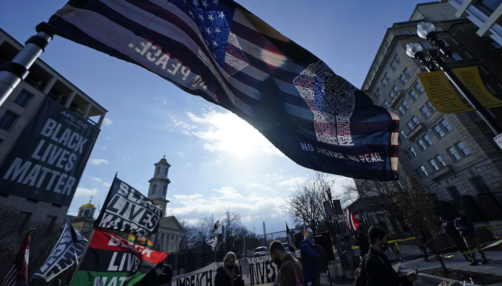 Flags fly in Black Lives Matter Plaza as President Joe Biden is sworn in during 59th Presidential Inauguration, Wednesday, Jan. 20, 2021, in Washington. (AP)