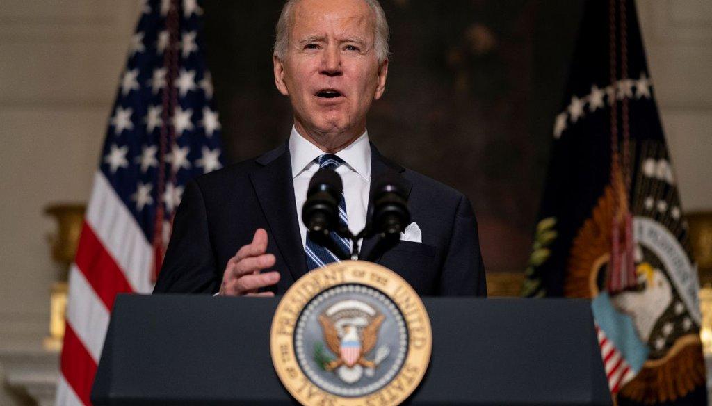 President Joe Biden delivers remarks at the White House on Jan. 27, 2021.(AP)