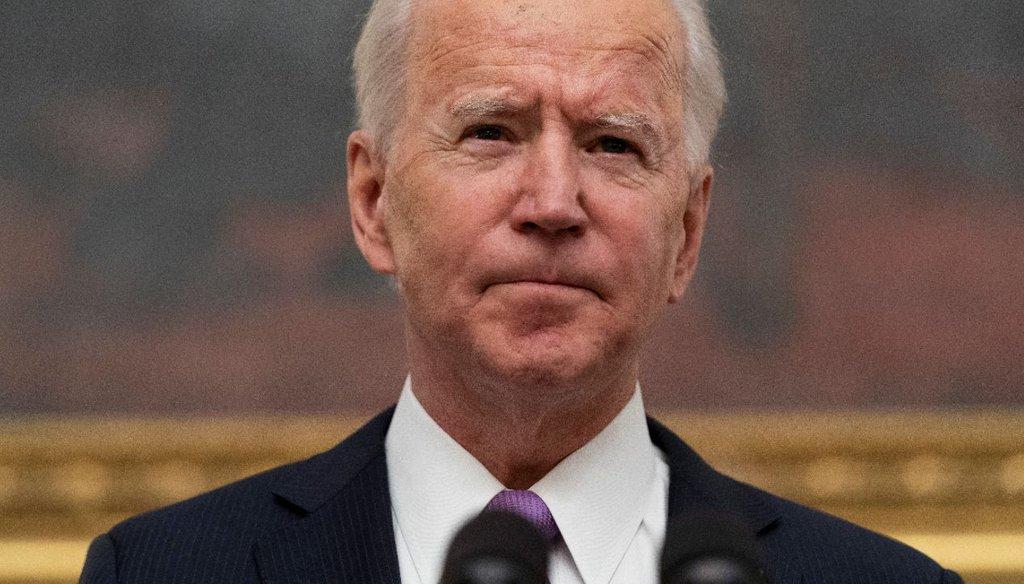 President Joe Biden in the State Dinning Room of the White House on Jan. 21, 2021. (AP)