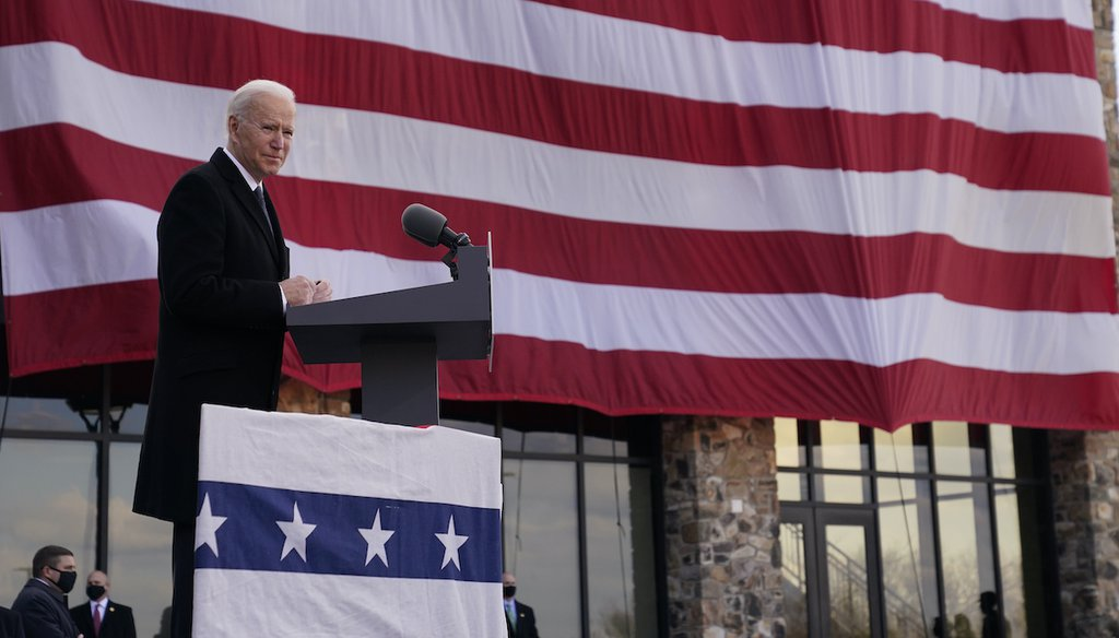 "President-elect Joe Biden speaks at the Major Joseph R. ""Beau"" Biden III National Guard/Reserve Center, Tuesday, Jan. 19, 2021, in New Castle, Del. (AP)"