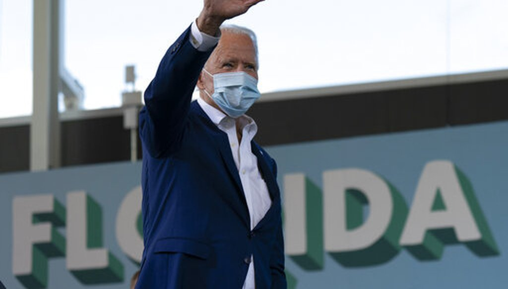 Democratic presidential candidate former Vice President Joe Biden waves to the crowd at Miramar Regional Park in Miramar, Fla., Tuesday Oct. 13, 2020. (AP)
