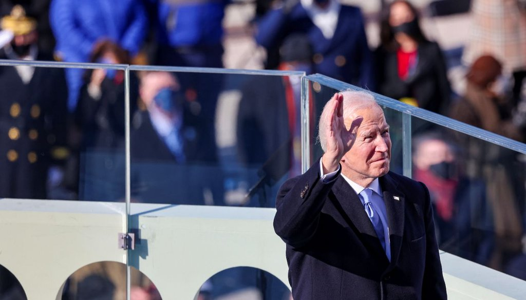 President Joe Biden as he prepares to deliver his inaugural address on Jan. 20, 2021. (AP)