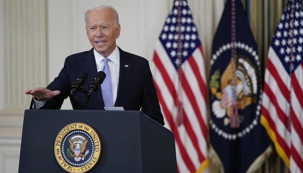 President Joe Biden speaks about the reconciliation bill at the White House. (AP Photo/Patrick Semansky)