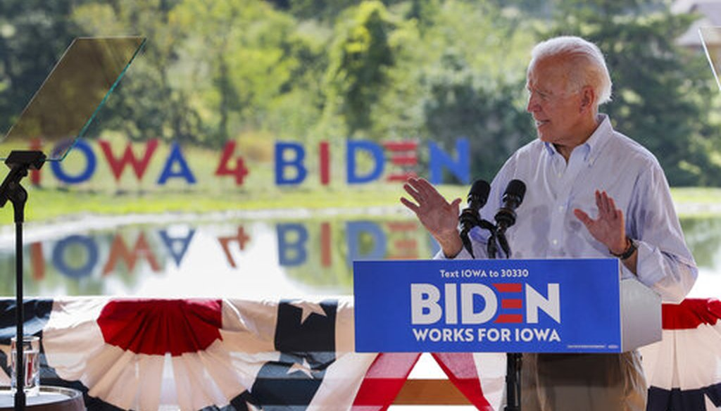 Democratic presidential candidate former Vice President Joe Biden speaks during a community event, Tuesday, Aug. 20, 2019, in Prole, Iowa. (AP)