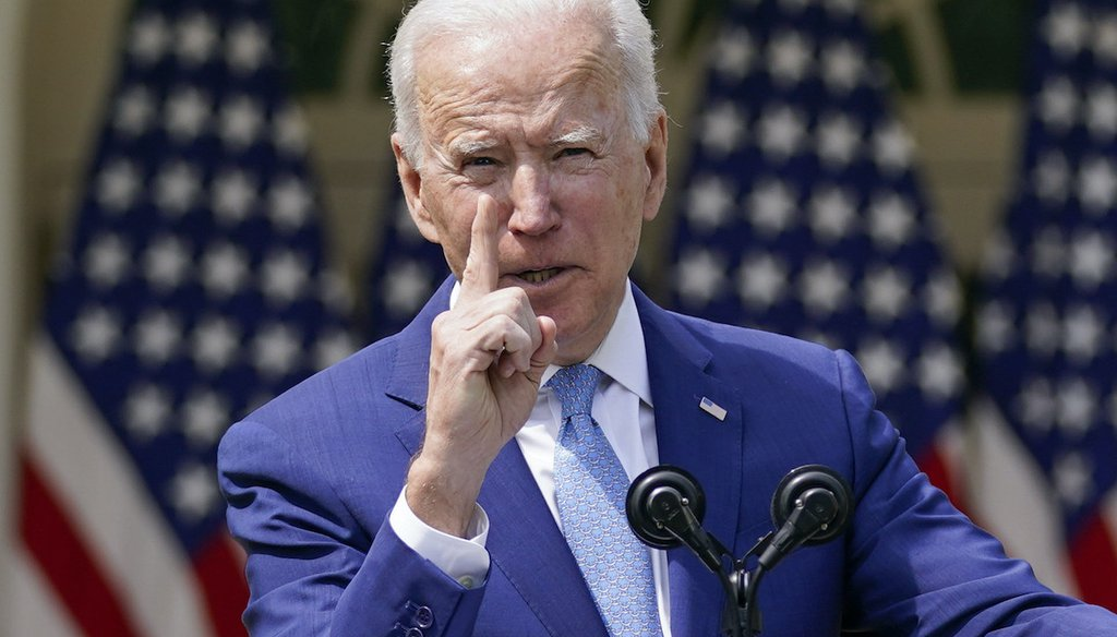 President Joe Biden gestures as he speaks about gun violence prevention in the Rose Garden at the White House, Thursday, April 8, 2021, in Washington. (AP)