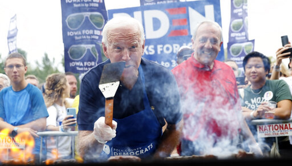 Democratic presidential candidate former Vice President Joe Biden works the grill during the Polk County Democrats Steak Fry, Saturday, Sept. 21, 2019, in Des Moines, Iowa. (AP)