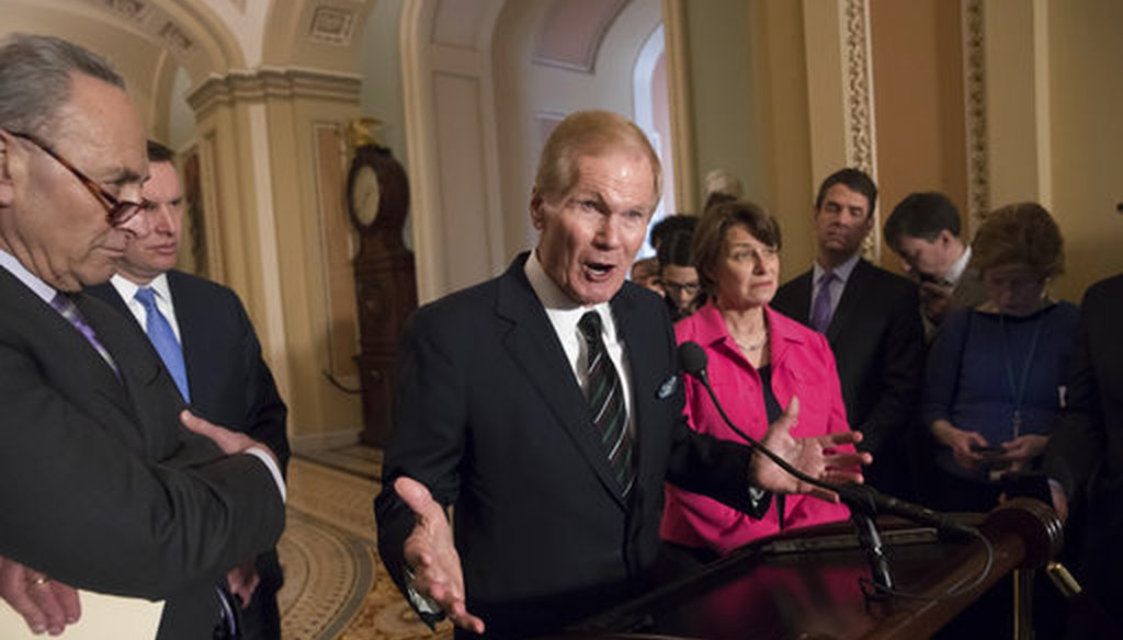 Sen. Bill Nelson, D-Fla., center, joined by, from left, Senate Minority Leader Chuck Schumer, D-N.Y., Sen. Chris Murphy, D-Conn., and Sen. Amy Klobuchar, D-Minn., speaks with reporters after a luncheon where they discussed school safety. (AP)