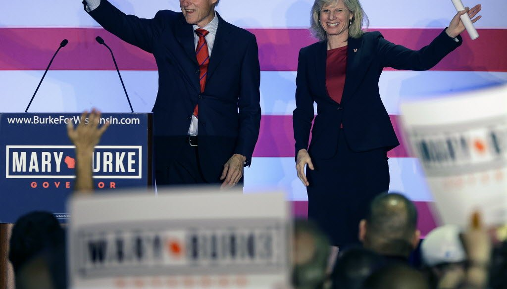 Bill Clinton campaigned at a downtown Milwaukee hotel for Mary Burke, Wisconsin's Democratic gubernatorial candidate, ahead of the Nov. 4, 2014 election. Burke was defeated by Republican Gov. Scott Walker.