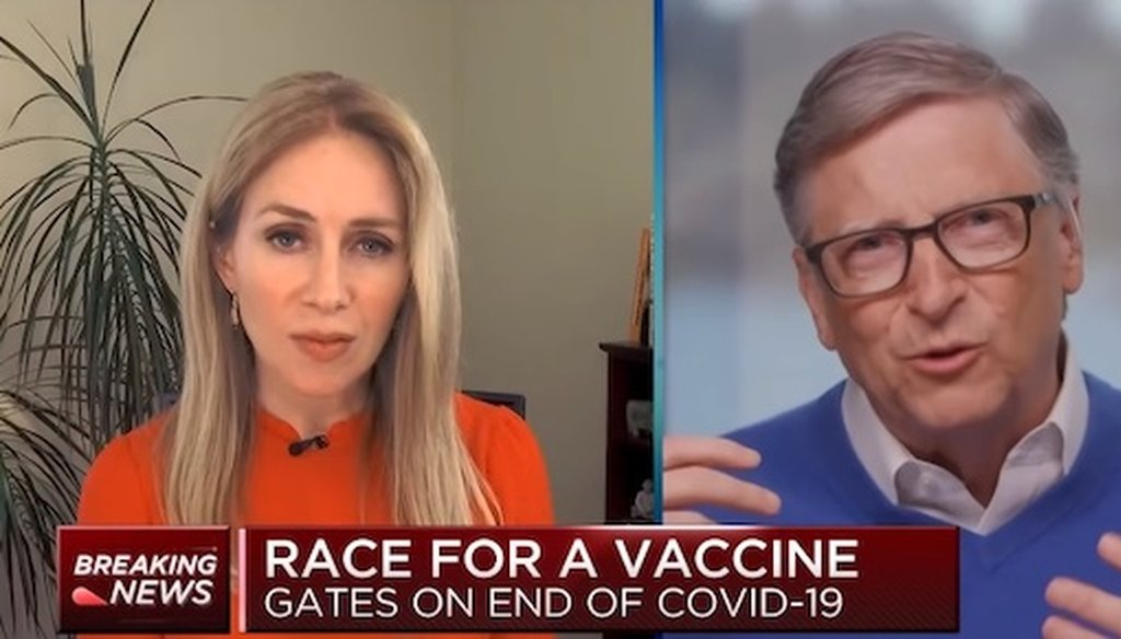 Bill Gates was interviewed April 9, 2020, on CNBC about his foundation's efforts to fight COVID-19.