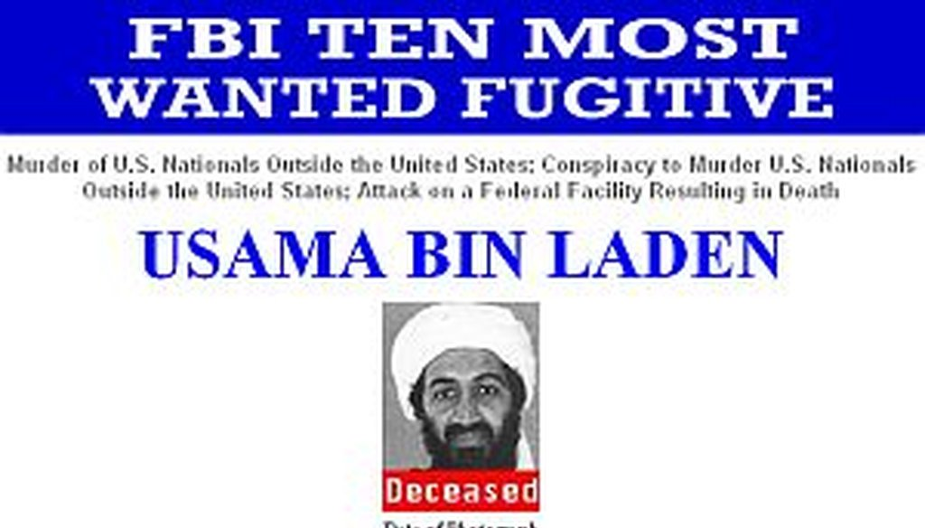"The FBI's Most Wanted list was changed to list Osama bin Laden as ""Deceased."""