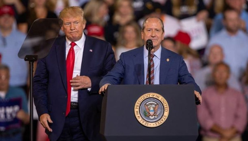 NC Sen. Dan Bishop, who's running for Congress, attacked his opponent Dan McCready during a Trump rally in Greenville, NC.